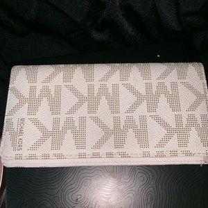 Michael Kors white leather checkbook holder
